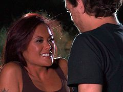 Watch this hardcore scene where the horny Kaylani Lei is fucked on the hood of a car in the middle of the night b y a guy.