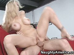 Julia Ann with huge breasts is a hard dick addict and her fuck buddy James Deen knows it