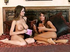 Emily Addison with juicy knockers and clean beaver bares it all and masturbates in closeup