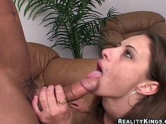 Brown-haired girl takes clothes off and gives skillful blowjob to her boyfriend. After that Ivonne gets fucked deep in a reverse cowgirl position.
