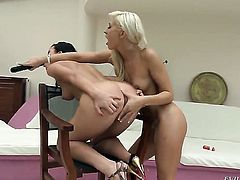 Denise Sky loves getting her pussy rubbed by lesbian Tracy Lindsay to orgasm