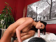 Christina Jolie dreaming about real sex with real man with dildo in her wet hole