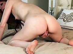 Elle Alexandra with small tits and clean cunt stripping down to her bare skin