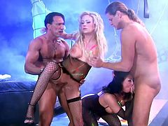 Entertain yourself watching these group sex between two ladies, with nice asses wearing sexy lingerie, and two horny fellows who are out of control!