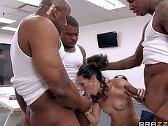 Hailey Young is one white milfy slut who cant get enough. This hot woman with smooth pussy gets attacked by fat hard dicks in interracial gangbang action. She handles three meaty cocks like a pro!