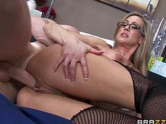 Busty milf doctor Brandi Love takes patients sturdy cock in her pussy in front of two curious nurses. She gets her snatch fucked silly a variety of sex positions before he gets enough. Watch lady doctor Brandi Love fuck the cum out of cock.