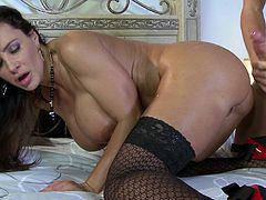 Take a look at this rough sex scene where the smoking hot mommy Lisa Ann has her tight asshole drilled by a big cock while wearing sensual lingerie.
