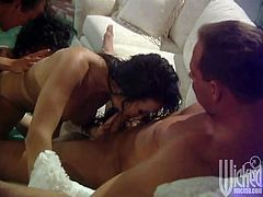 Asia Carrera and Sydnee Steele suck big cocks passionately. Then these sluts get banged in their soaking pussies in group sex video.