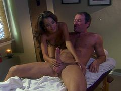 Daisy Marie rides big cock and licks balls with pleasure