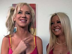 Check this blonde MILFs, with gigantic boobs wearing fuchsia clothes, while they explain how they feel being a pornstar. They are sex freaks!