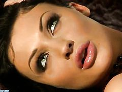 Aletta Ocean with gigantic breasts plays with her dripping wet fuck hole as she has fun alone on cam