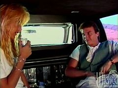 Stunning blondie talks to a guy in the car. She is so impressed by the guy that decides to bring him pleasure. Debi takes guy's dick out of his pants and starts to suck it.