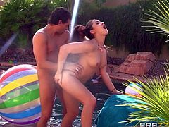 Dani Daniels and Monique Alexander are two sexy bikini-clad sluts that get their tight holes drilled by hard throbbing cocks in outdoor orgy. They take cocks in their wet vaginas with big enthusiasm.