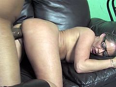 Dear heavens that cock is so big! She licks his balls and it drapes over her face! That big cock is SO HOT! She takes it RIGHT!