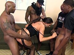 Kaylynn got exactly what she wanted when this group of hung black guys gangbanged her then glued her eyes shut with their jizz.