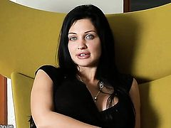 Playful woman Aletta Ocean with giant tits having fun with toy
