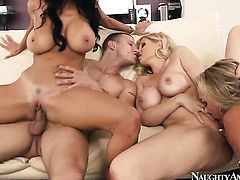 Mr. Pete pulls out his love wand to fuck Exotic Julia Ann with huge hooters and trimmed snatch