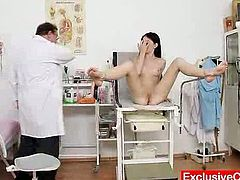 Sexy Brunette Gets Weird Insertions From Her Nasty Doc
