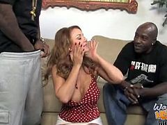 Checkout these horny and pussy hungry black dudes fucks this hot busty milf Janet Mason in front of her kid.But this mommy is all okay with that, as she wanted him to learn lesson.Watch how she sucks on those big black meaty cocks and gets her hairy pussy fucked and creampied by both big cocks in her pussy.