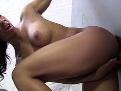 She has a great ass and beautiful full tits, loves that gloryhole action! She will suck and milk that cock until it blows over those perky tits!