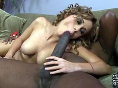 Sexy chicks Mae Meyers is involved into a nasty cuckolding with a big black cock. Her white slave is watching how her tight pussy is getting stretched by this lucky dude.