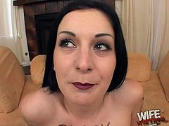 Kinky white amateur gets naughty things written on her naked body while she deepthroats a black cock and gets fucked hardcore.