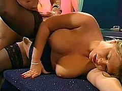 Busty blonde Verena is swallowing giant loads