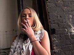 Be part of this clip where a blonde, with immense bazookas and a shaved pussy, goes hardcore with a steamy black man and talks about her experience.