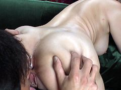 Asian girls with meat on their bones are pretty rare. But Yuki Touma is one of a kind. She has big milky boobs and thick booty. Lucky guy fondles her funbags and licks her delicious butthole.