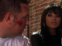 Amazingly hot Kaylani Lei sucks huge dick. This Asian hottie in high boots and leather outfit gets fucked in the presence of some men in black cloaks with candles. Kaylani also gets facialed massively in the end.