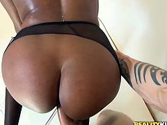 This chocolate sexpot is the full package. She's sexy and she has a never ending sex drive. Her magnificently sculpted ass looks perfect from every angle. Horny dude pounds her fanny from behind. Then she lets him fuck her in missionary position.