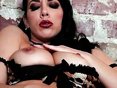 Jelena Jensen with big jugs and bald bush touches her neat love box as she has fun alone on cam