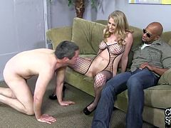 Busty blonde wife in bodystockings fucks Black guy
