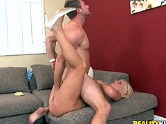 Curvy blonde milf Karen Fisher lets some man smear her butt with whipped cream and lick it. Then she gives a blowjob to the dude and they fuck in missionary, cowgirl and many other positions.