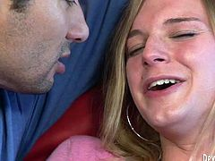 Light haired hot blooded third gender spreads her legs and takes pleasure of deep throat blowjob, provided by her freaky stud. Watch this passionate TS cock suck in Fame Digital porn clip!