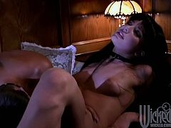 Lustful brunette chick gets her sweet pussy licked. Aurora turns on quickly. She gives a handjob and then gets banged in her vagina.