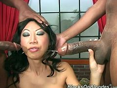 Nothing like a sexy as fuck busty Asian hottie taking two black dicks in her holes and loving it! Take it up the front and the back and beg for more!