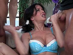 Sensationally hot brunette mommy with big tits and beautiful face serves her hungry fuckholes for twobig fresh dicks. MAture bitch gives stunning blowjobs and gets her tight asshole eaten.