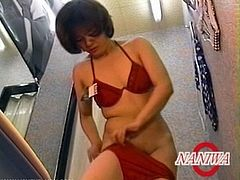 These Asian girls have no idea that there's a hidden cam in the fitting room, so they behave naturally and try on different lingerie or even swimming suits.