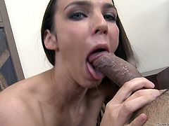 Sexy brown-haired chick Tiffany Tyler shows her sweet pussy to some dude. Then she takes his dick into her mouth and sucks it till it explodes with cum on her charming face.