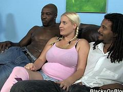 This horny chick always wanted to gets fucked by two big black cock and these guys made her wish came true. Enjoy watching this interracial sex.