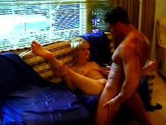 Hot blonde milf Anastasia Blue gives a blowjob to some man and lets him drive his wang into her shaved snatch. They fuck in missionary position and seem to be unable to stop.