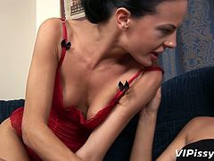 Greedy for lady juice lesbian enjoy pussy licking. She tickles big perky clit and plays with stretched pussy labia. Go for the hottest lesbian sex video produced by Vipissy porn site.