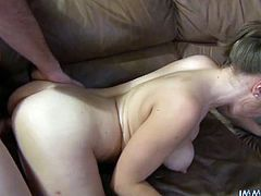 Busty brown-haired chick Chrissy Nova is having fun with some guy. She pleases the dude with a blowjob and then allows him to drill her snatch in missionary and cowgirl positions.