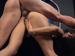Click to watch this brunette, with small tits wearing high heels, while she touches herself to get her pussy wet enough to be fucked hard!