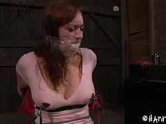 Checkout this hot babe named as Holly Wildes in this hard bondage scene in which her tits are getting electric jolts and her pussy is getting whipped.Redhead babe Holly moans loud in pain.