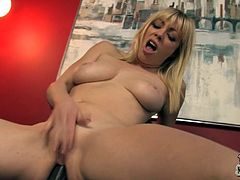 Press play to watch this tattooed blonde, with a nice ass and a shaved pussy, while she goes hardcore in a crazy MMF. She surely loves big cocks!