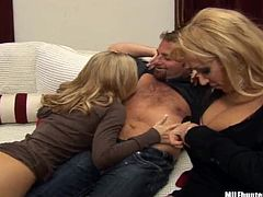 Diana Doll and her amazing blonde GF are playing dirty games with some lucky man. They show their terrific bodies to the dude and then let him drill their shaved cunts in missionary position.