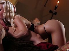 Jessie Volt is stunning in bed and she shows awesome oral skills. She gave him amazing head, got her muff eaten and takes his schlong like a pro!