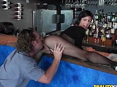 Sizzling busty brunette milf Alexis Fawx wearing the sexiest fishnet bodystocking ever has great oral sex with some lucky man indoors. Then they bang in missionary position and doggy style and Alexis moans with pleasure.
